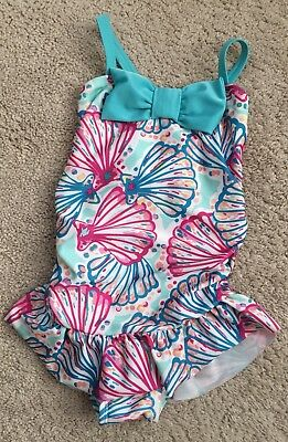 Gymboree Girls Shell Swimsuit 1 PC Toddler 3T Teal Ruffle Bow One Piece