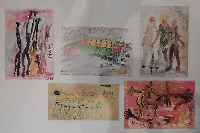 Purvis Young GROUP PRICED TO SELL!! OLD  Prints SIGNED Outsider Black Folk Art