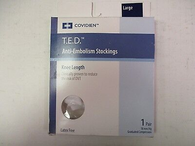 COVIDIEN T.E.D. 18mmHg ANTI-EMBOLISM KNEE LENGTH STOCKING LARGE WHITE - EW 6014J