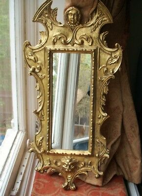 Old Vintage Gilded Gold Italian Florence Wall Mirror Frame Baroque Scroll Italy