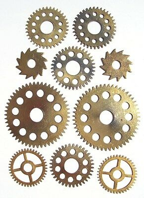 Lot 5 pairs (10 pcs) vintage clock large brass gears wheels Steampunk parts #3