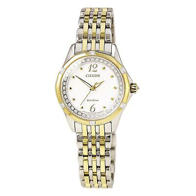 Citizen EM0374-50A Lady's White Dial TT Bracelet Diamond Watch