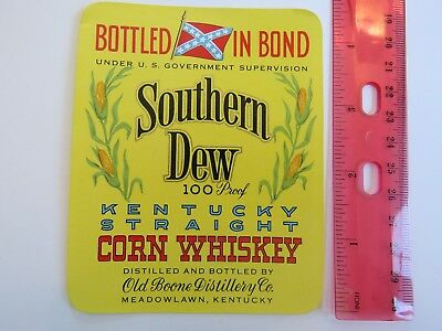 Liquor Label ~ SOUTHERN DEW ~ Kentucky CORN Whiskey ~ Old Boone Distillery Co