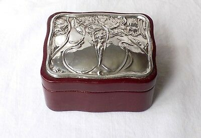 Vintage Art Nouveau Style Hallmarked Silver Topped Leather Covered Jewellery Box