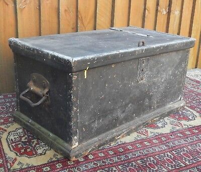 Small Antique~Vintage Well Weathered Pine Sailors Ditty Box ~Tool Box~Pine Chest