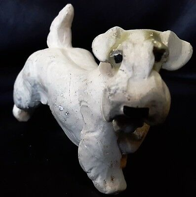 """4"""" tall x 7"""" long Vintage White Chalkware TERRIER DOG Figurine MARKED Animal"""