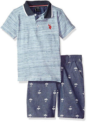 US Polo Assn Boys S/S Blue Polo 2pc Short Set Size 2T 3T 4T 4 5/6 7