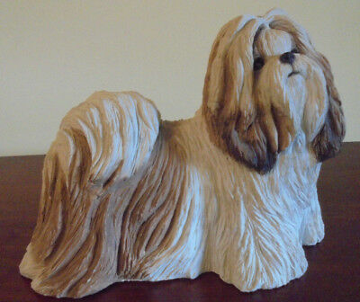 LHASA APSO Dog Figurine / Statue ~Hand Painted Cold Cast Stone BRUE
