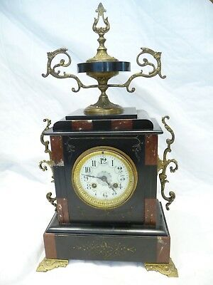 Antique French Black And Red Marble Mantel Clock 1900'S Working For Small Repair