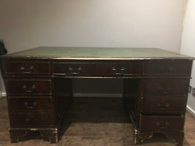 ANTIQUE STYLE Mahogany TWIN PEDESTAL writing table office DESK leather top