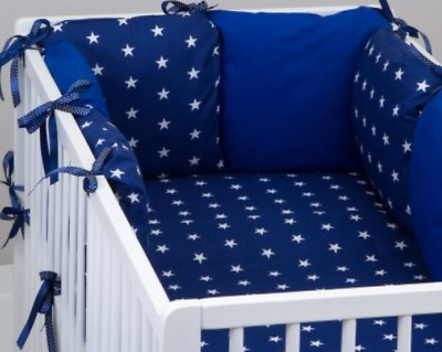 PILLOW BUMPER COT / COT BED BUMPER made from 6 cushions NAVY STARS soft pillows