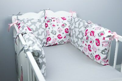 PILLOW BUMPER COT / COT BED BUMPER made from 6 cushions PINK BIRDS soft pillows