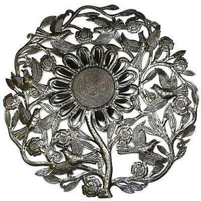 Sunflower And Birds Metal Wall Art 24 Inch Diameter Fair