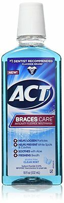 ACT Braces Care Anticavity Fluoride Mouthwash, Clean Mint, 18 oz (7 Pack)