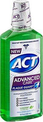 ACT Advanced Care Plaque Guard Mouthwash, Clean Mint 18 oz (8 Pack)