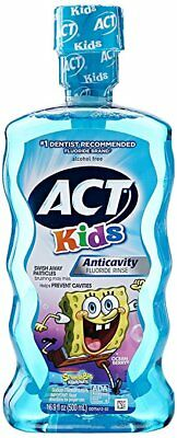 ACT Kids Anticavity Fluoride Rinse,Ocean Berry, 16.9 oz (6 Pack)
