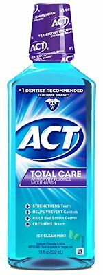 ACT Total Care Anticavity Rinse, Icy Clean Mint, 18 oz (8 Pack)