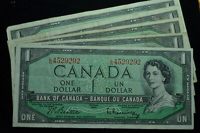 5 Notes 1954 $1 Bank Note of Canada Circulated VF.