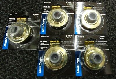 5 pack ProSource Mintcraft LR-005-BC3L Wall Door Stops, Rubber, Bright Brass