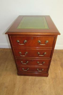 Antique Style 2 Drawer Reproduction Mahogany Filing Cabinet, Green Leather Top.