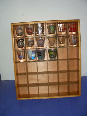 WOOD WOODEN DISPLAY CASE for SHOT GLASSES #D7