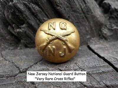 Old Rare Vintage Antique War Relic New Jersey National Guard Button Cross Rifles