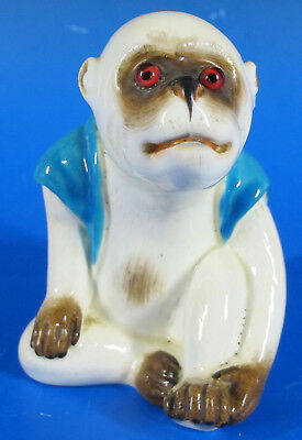 Antique RARE Bernard Moore Pottery Glass Eyes Seated Monkey Figure Glazed NR yqz