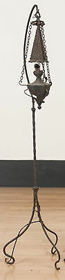 Antique 19th c Aesthetic Movement Wrought Iron Floor Oil Lamp Electrified NR yqz