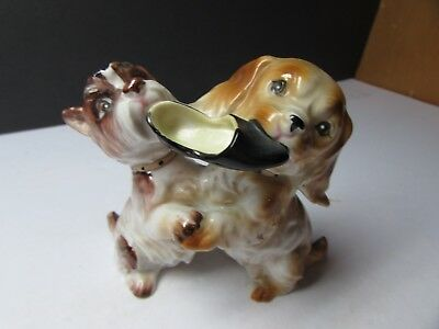 Cool Vintage Ardalt Puppy Dogs Playing With Slipper Figurine