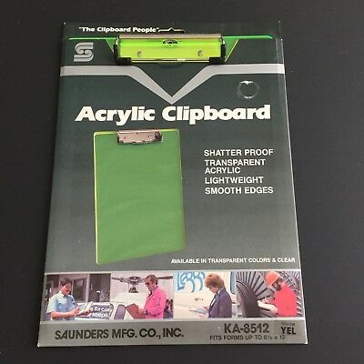 """Acrylic Clipboard, 1/2"""" Capacity, Holds 8-1/2w x 12h, Clear Neon Yellow Saunders"""