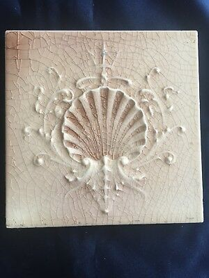 Vintage Victorian Cambridge Tile With Shell Beautiful Piece.