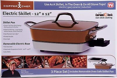 Removable Electric Skillet 12 Copper Chef Nonstick Pan Cooking