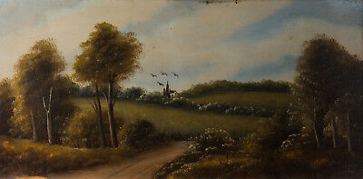 Early 20th Century Oil - Landscape with Distant Building