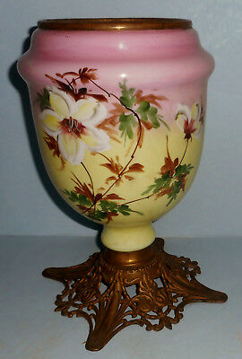 Tall Ca.1890s GWTW Parlor Oil Lamp Base Pink Yellow Handpainted Flowers