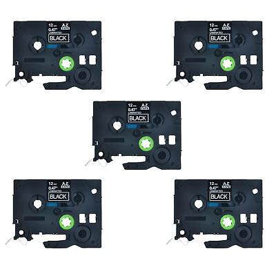 """5PK White on Black Label Tape For Brother TZ335 Tze335 P-Touch PT-2500PC 1/2"""""""