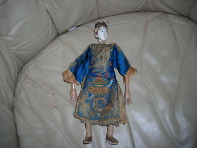 "Rare Early Antique Mid 19Th C. Qing Dynasty Chinese Hand Made Doll 11"" Tall"