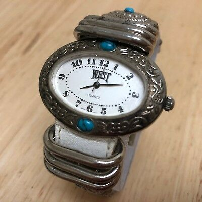 Vintage West Lady Sterling-Tone Ornate Oval Analog Quartz Watch Hour~New Battery