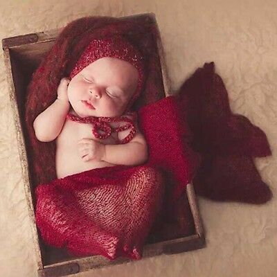 Newborn Baby Photography Props Blanket Rayon Stretch Knit Wraps 40*150cm Red DE