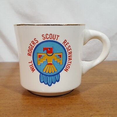 Vtg Boy Scouts BSA Will Rogers Reservation Heavy Ceramic Diner Style Coffee Mug