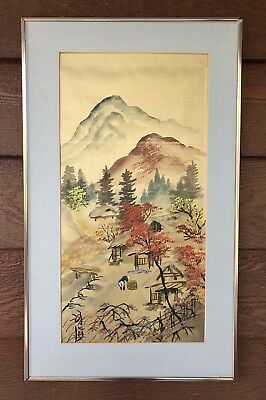 Vintage Japanese Framed Wall Hanging Hand Painted Fabric