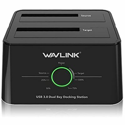 USB 3.0 To SATA (5Gbps) Dual-Bay Hard Drive Docking Station For 2.5 Inch/3.5