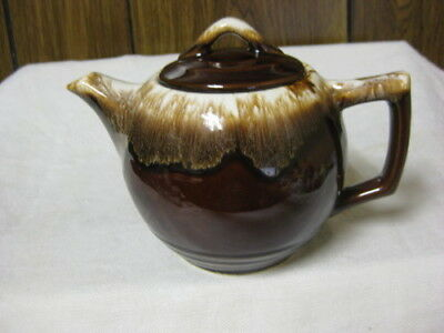 McCoy Pottery Brown Drip Teapot & Lid 4 Cup