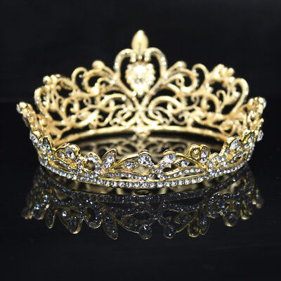 Wedding Bridal Pageant King Crown Tiara Rhinestone Diamante Headpiece Jewelry
