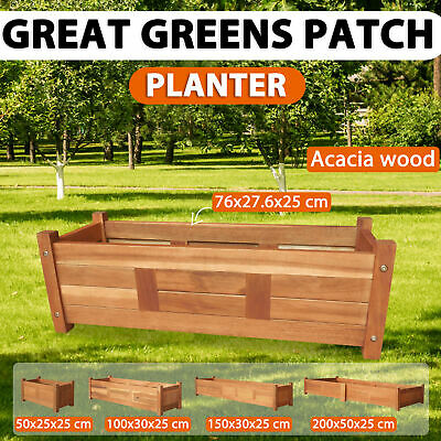 vidaXL Acacia Wood Garden Planter Flower Vegetable Bed Rectangular Multi Sizes