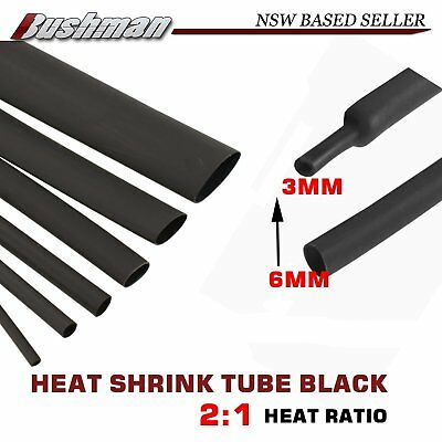 2:1 Shrinkage 6mm Heat Shirnk Tube Black Electric Cable Wire Sleeve Wraps By Mtr