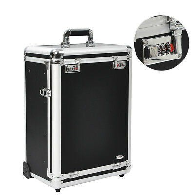 AW® Professional Rolling Travel Makeup Case Jewelry Drawers Aluminum Code Lock