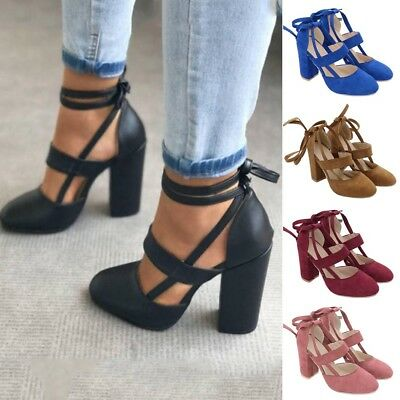 Womens Ladies Lace Up Block Mid Heel Ankle Tie Wrap Strappy Sandals Shoes D9