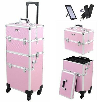 AW™ 2in1 Pro 4 Wheel Rolling Makeup Cosmetic Train Case Aluminum Lockable Box