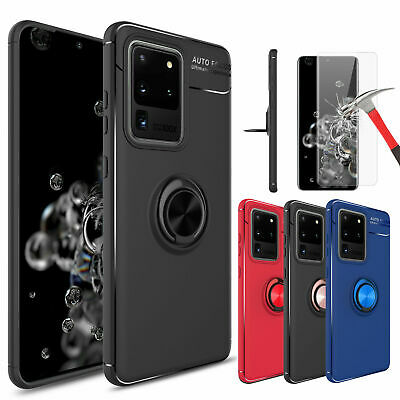 For Samsung Galaxy S9/Note 9/10+/S10 Plus Case With Ring Holder+Screen Protector