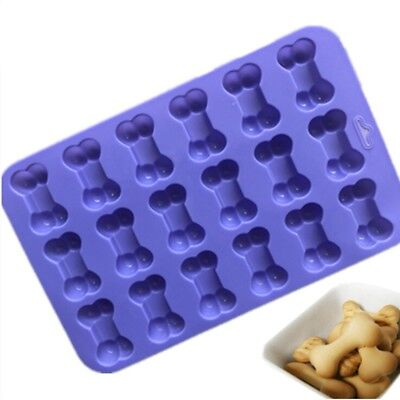 18-Cavity Dog Bone Silicone Cake Mold Biscuit Chocolate Baking Mould Purple